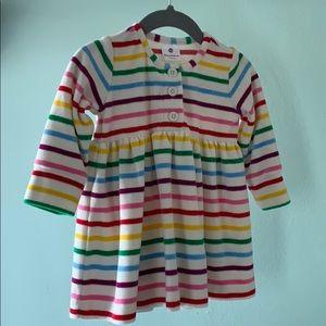 Rainbow stripe baby/toddler velour dress